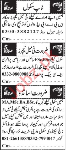 Female Teacher & Subject Teacher Jobs 2021 in Quetta