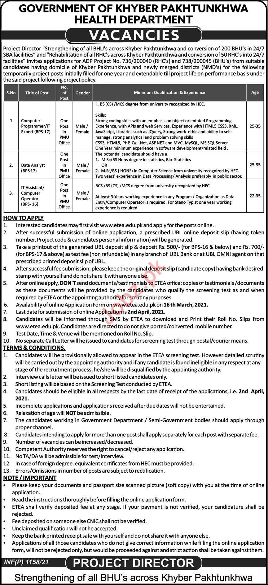 Health Department Peshawar Jobs 2021 for IT Experts