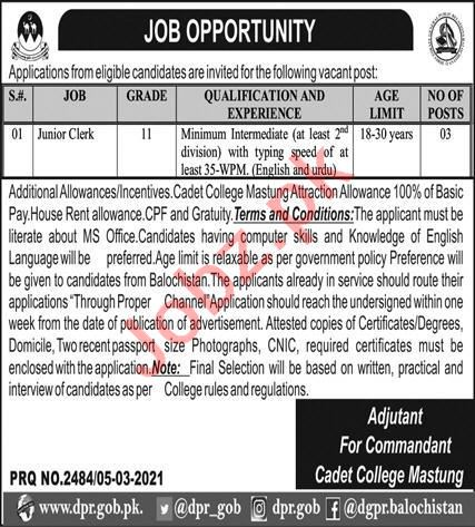 Junior Clerk Jobs 2021 for Cadet College Mastung