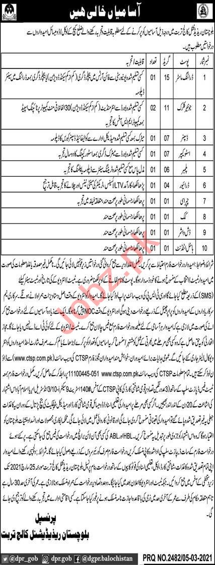 Balochistan Residential College Jobs 2021 for Driver & Peon