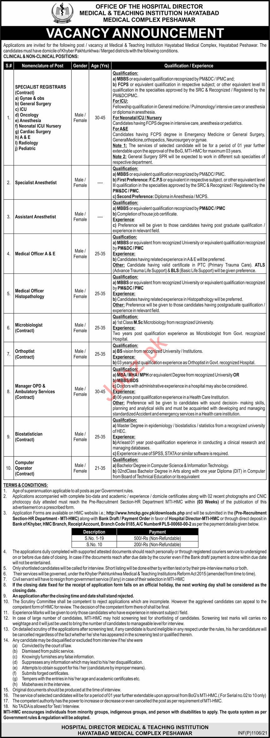 Hayatabad Medical Complex HMC MTI Peshawar Jobs 2021