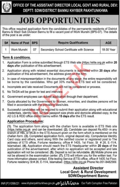 Local Government & Rural Development Department Bannu Jobs