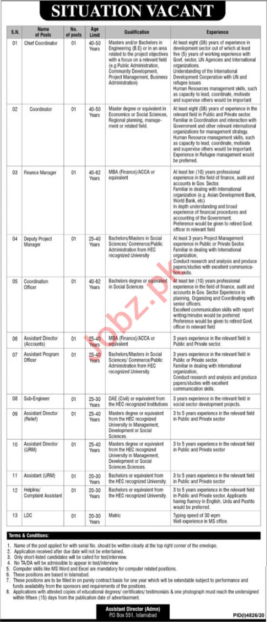 Chief Coordinator & Assistant Director Jobs 2021 Islamabad