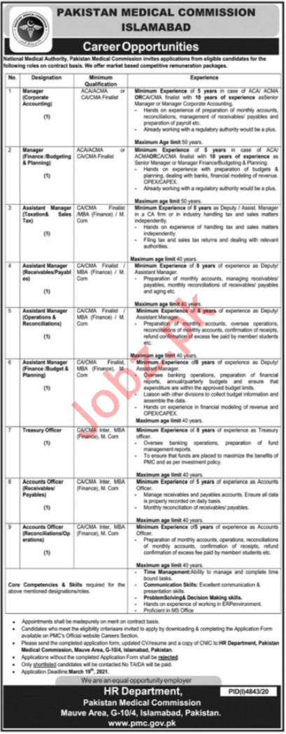 Pakistan Medical Commission PMC Islamabad Jobs 2021