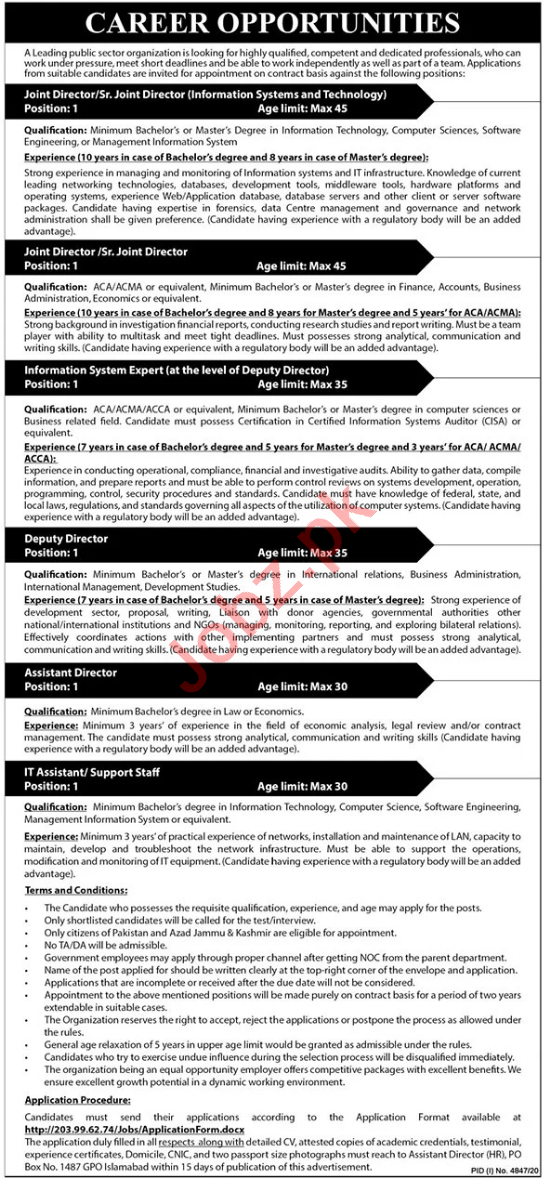 Joint Director & Assistant Director Jobs 2021 in Islamabad