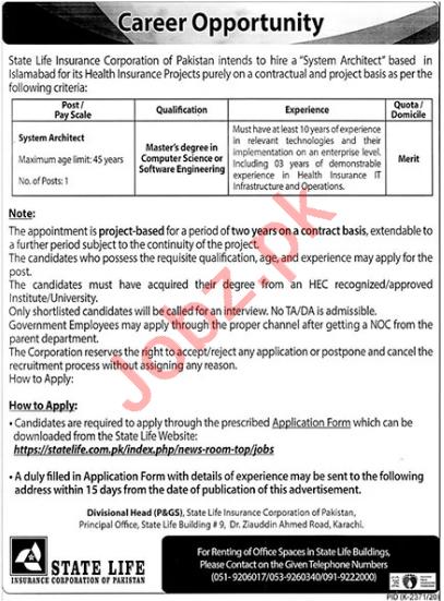 State Life Insurance Corporation of Pakistan Jobs Architect
