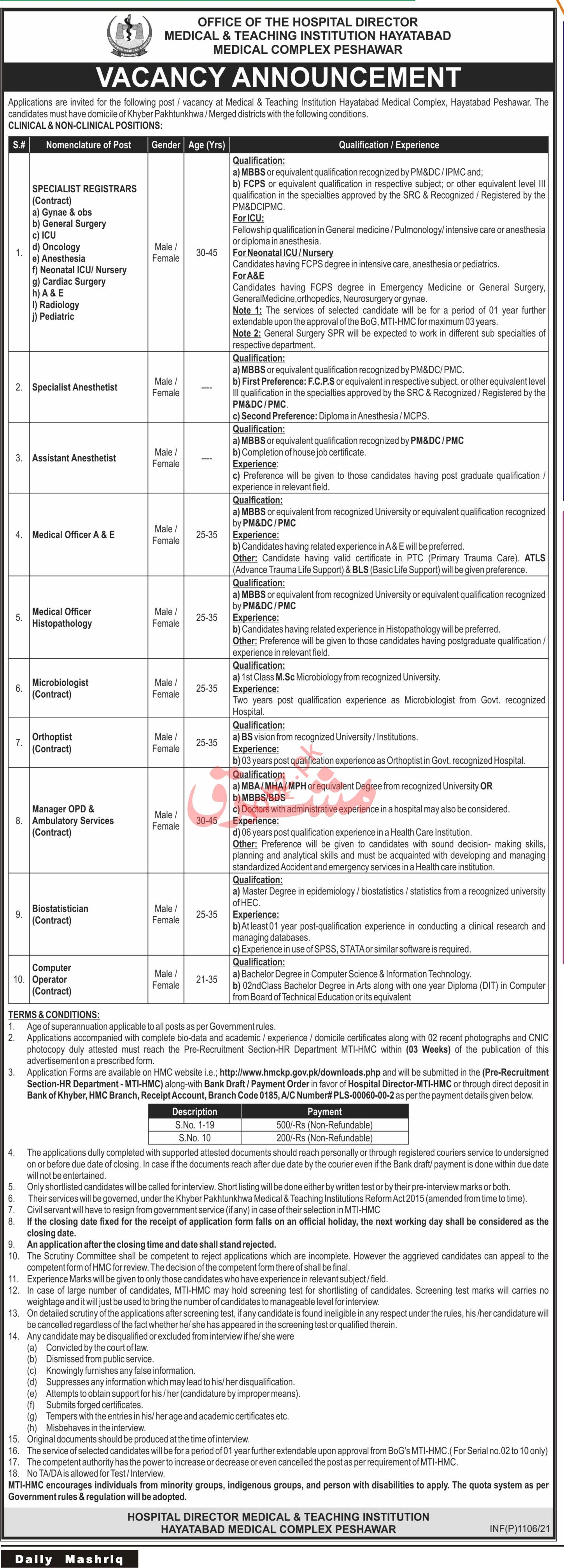 Hayatabad Medical Complex HMC MTI Jobs 2021 for Registrar