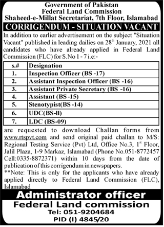 Federal Land Commission Jobs 2021 in Islamabad