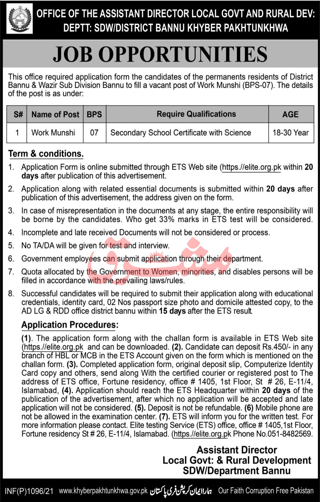 Local Government Department Jobs 2021 in Bannu