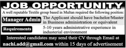 Textile Group Job 2021 For Manager Admin in Multan