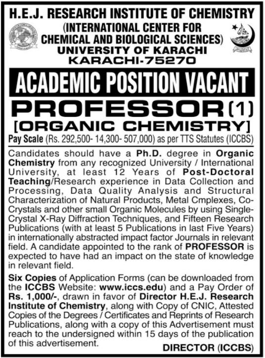 HEJ Research Institute of Chemistry Job 2021 in Karachi
