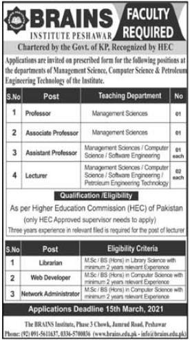 Brains Institute Peshawar Jobs 2021