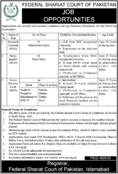 Federal Shariat Court of Pakistan Jobs 2021