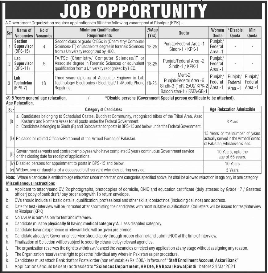 Government Organization Jobs 2021 For Risalpur KPK