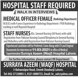 Surayya Azeem WAQF Hospital Walk In Interviews 2021