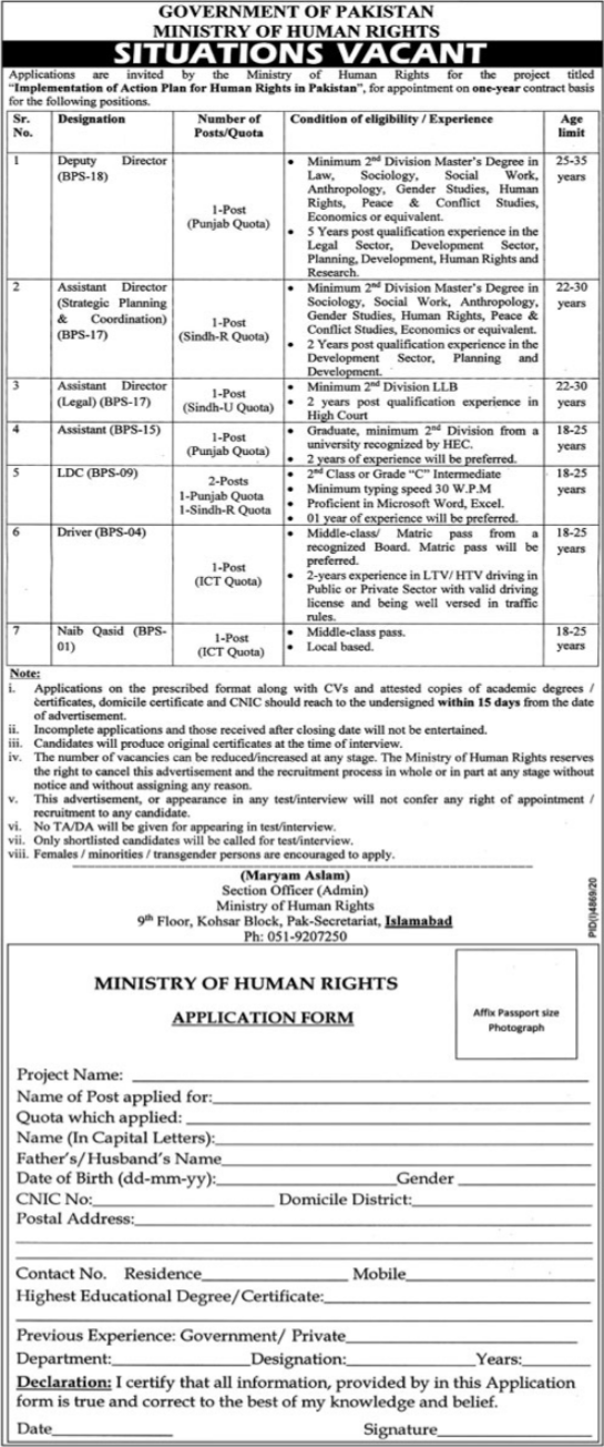 Ministry of Human Rights Jobs 2021 in Islamabad