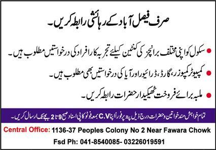 School Staff Jobs 2021 in Faisalabad
