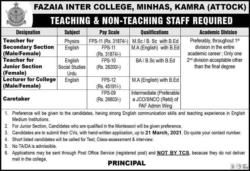 Fazaia Inter College Minhas Kamra Attock Jobs 2021