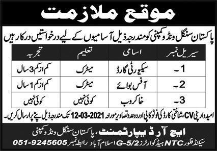 Pakistan Single Window Company Jobs 2021 in Islamabad