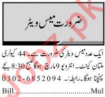 44 Cavalry Multan Cantt Jobs 2021 for Mess Waiter