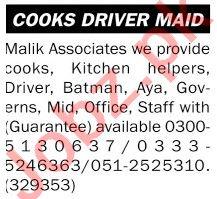 Malik Associates Jobs 2021 for Kitchen Helper & Batman