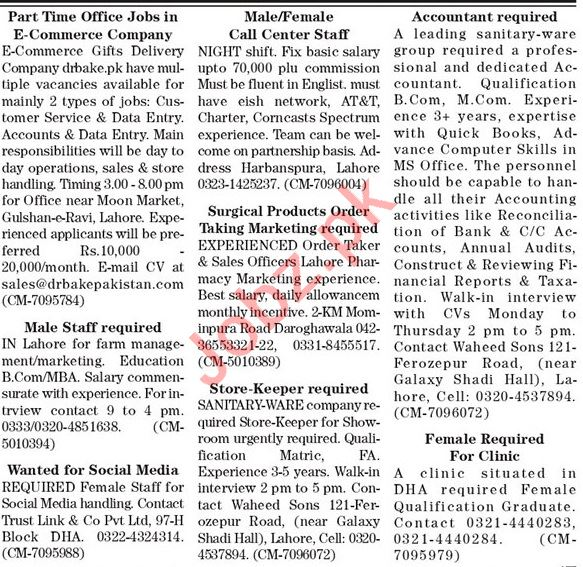 The News Sunday Classified Ads 7 March 2021 for Office Staff