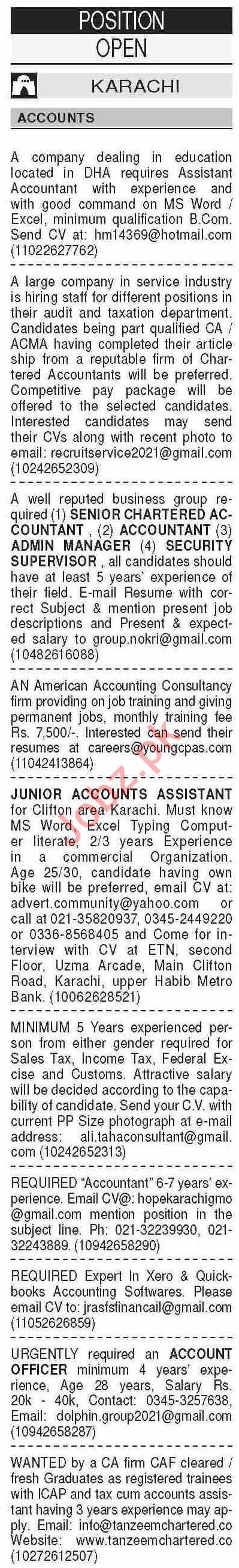 Dawn Sunday Classified Ads 7 March 2021  for Accounts Staff