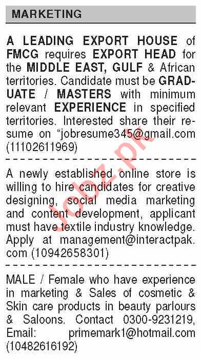 Dawn Sunday Classified Ads 7 March 2021 for Marketing Staff