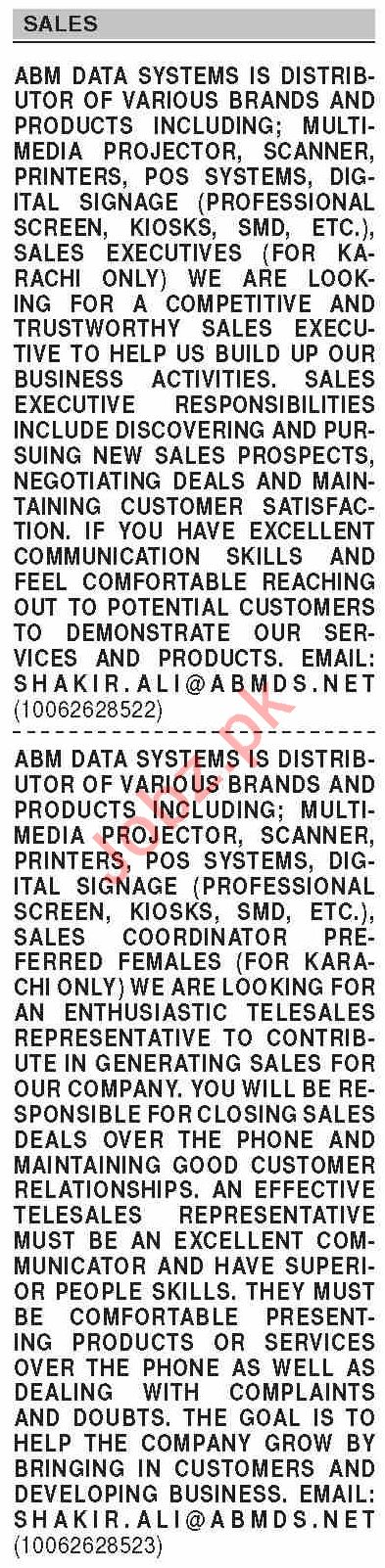 Dawn Sunday Classified Ads 7 March 2021 for Sales Staff