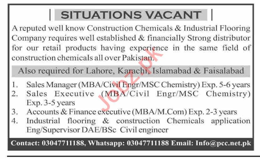 Pakistan Construction Chemicals PCC Karachi Jobs 2021