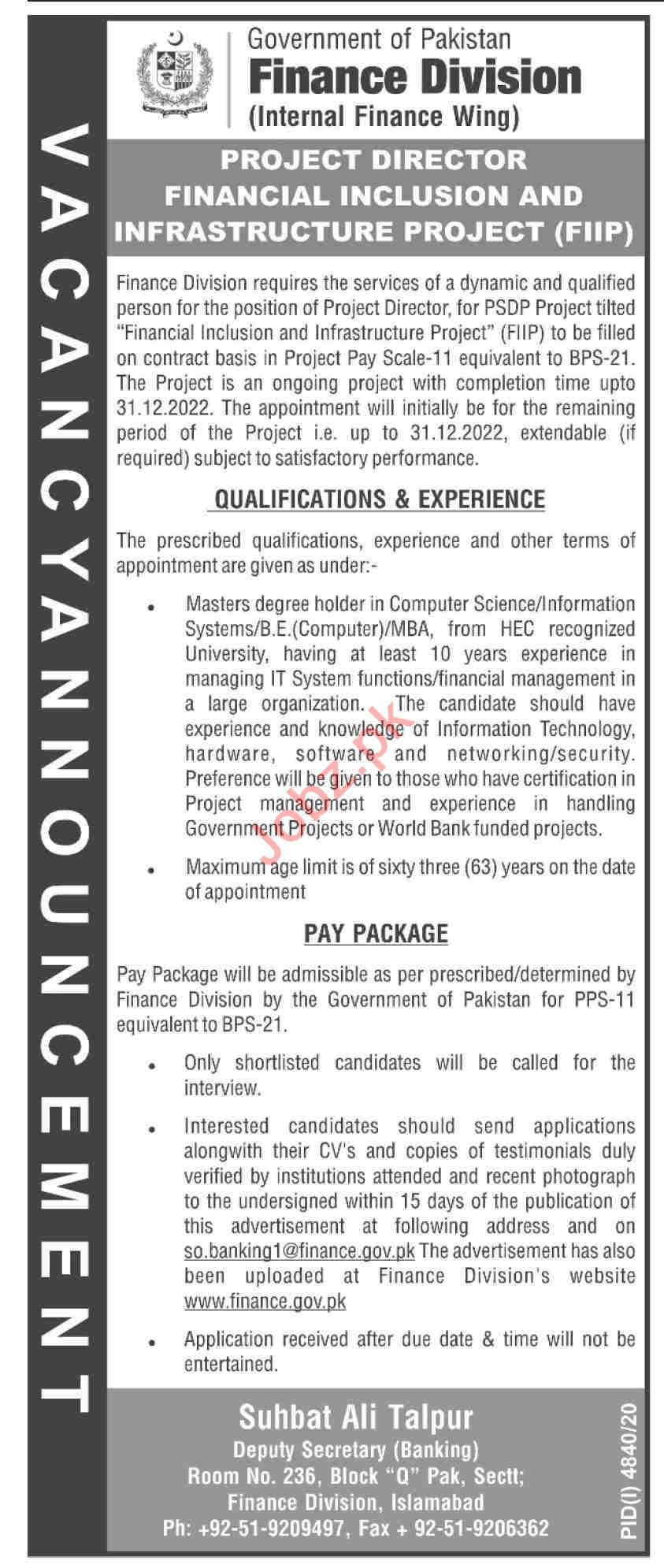 Finance Division Islamabad Jobs 2021 for Project Director
