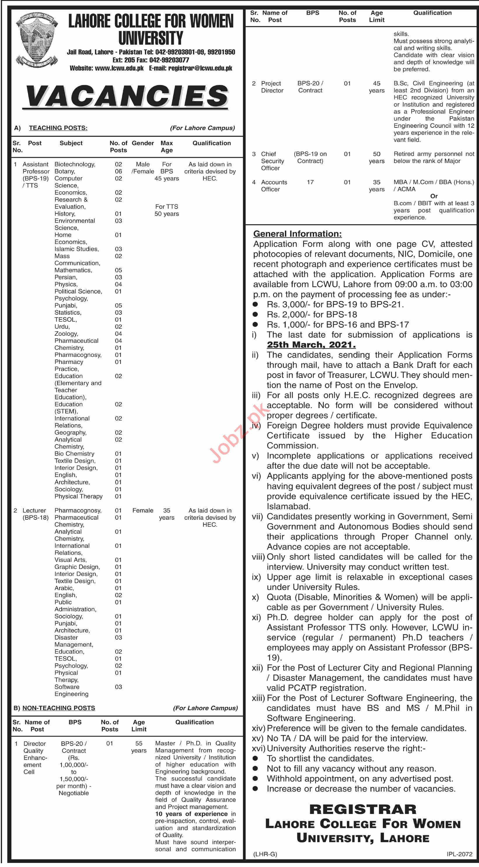 Lahore College for Women University LCWU Jobs for Lecturers