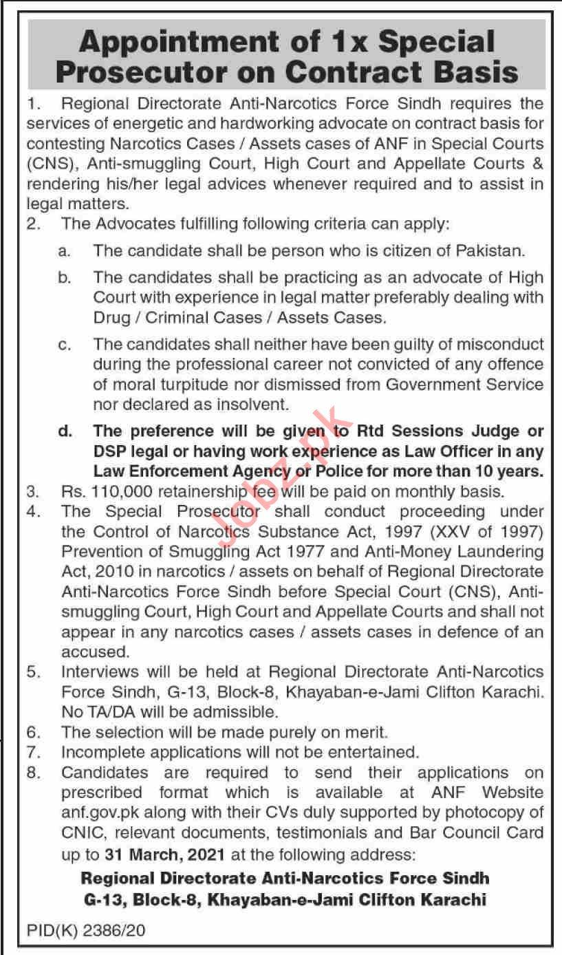 Anti Narcotics Force ANF Karachi Jobs 2021 for Prosecutor