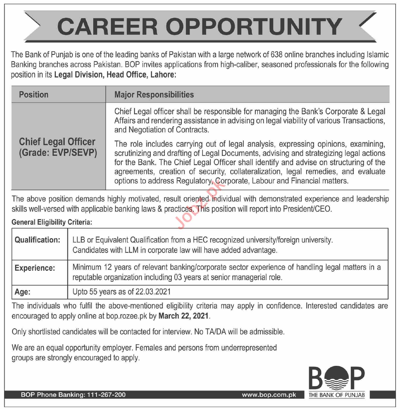 The Bank of Punjab BOP Lahore Jobs 2021 Chief Legal Officer