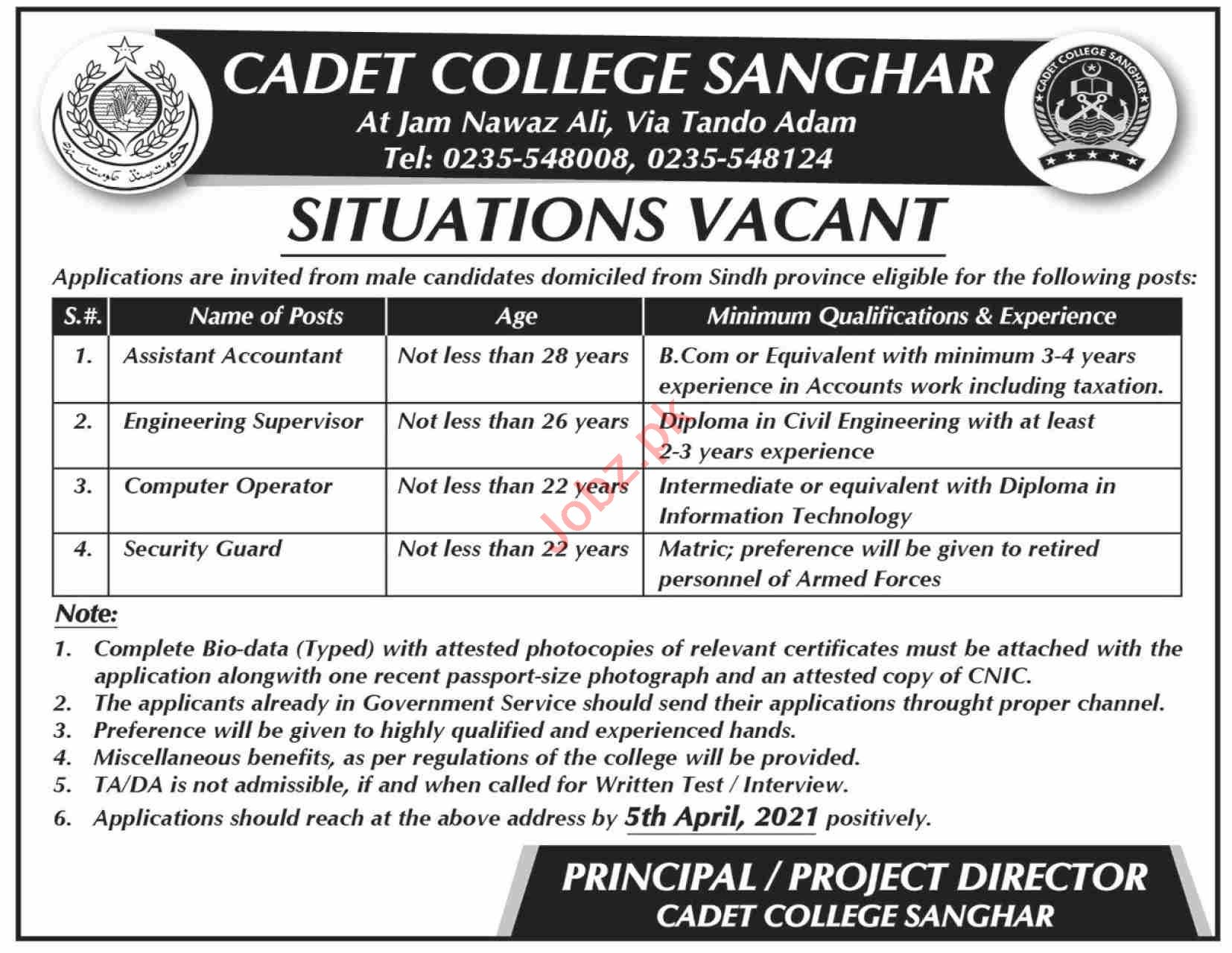 Cadet College Sanghar Jobs 2021 for Assistant Accountant