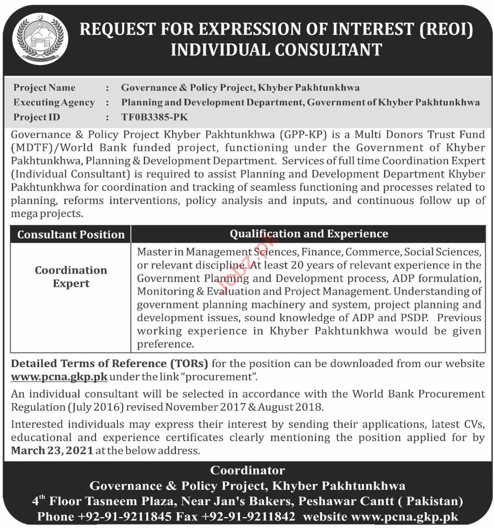 Governance & Policy Project GPP Peshawar Jobs 2021