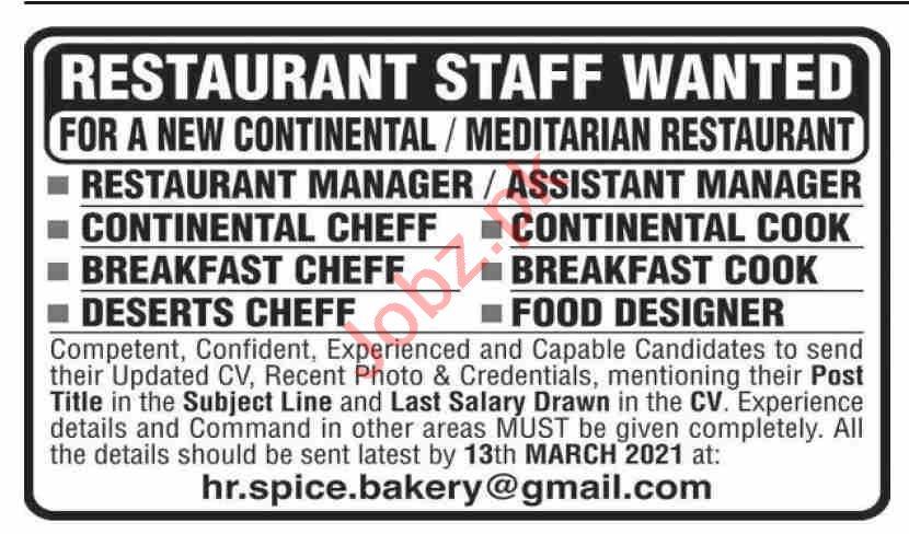 Restaurant Manager & Continental Chef Jobs 2021 in Karachi