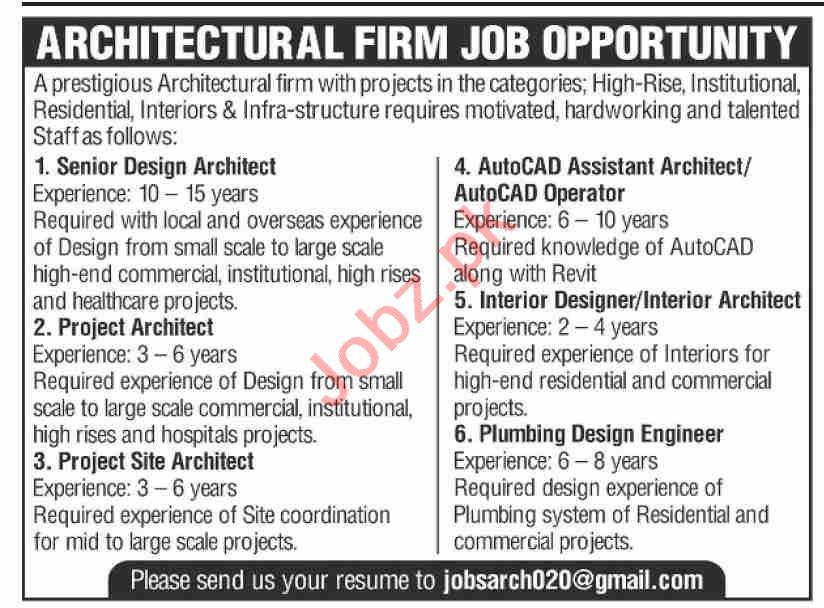 Senior Design Architect & AutoCAD Assistant Jobs 2021