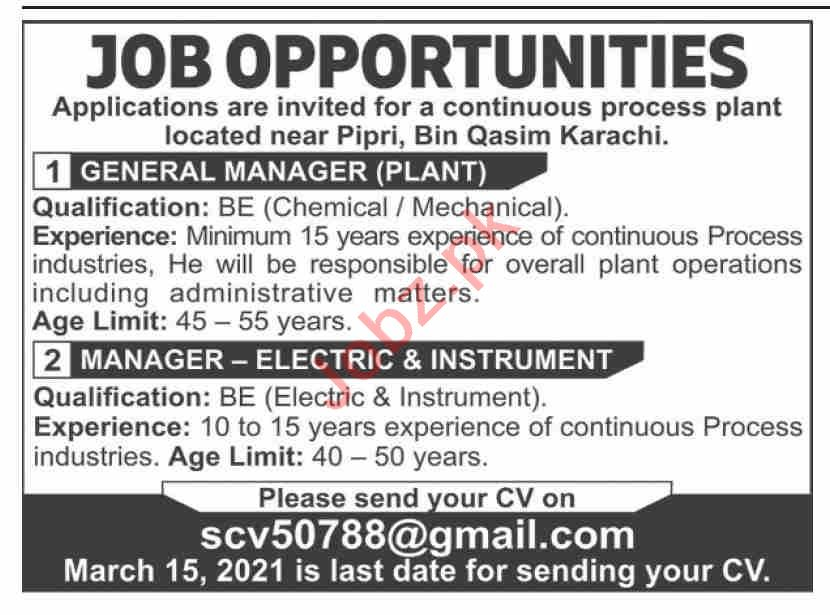 General Manager Plant & Manager Electric Jobs 2021