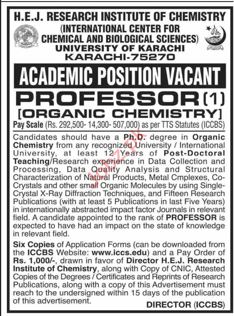 HEJ Research Institute of Chemistry ICCBS Karachi Jobs 2021