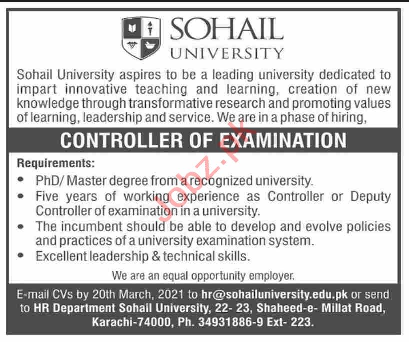 Sohail University SU Karachi Jobs Controller of Examination