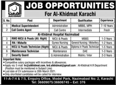 Al Khidmat Hospital Jobs 2021 in Karachi