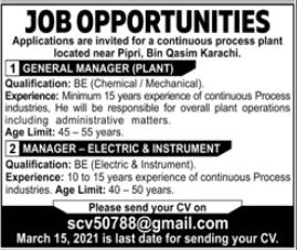 Engineering Staff Jobs 2021 in Karachi