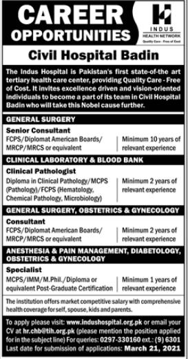Civil Hospital Jobs 2021 For Medical Staff in Badin