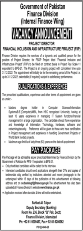 Finance Division Job 2021 in Islamabad