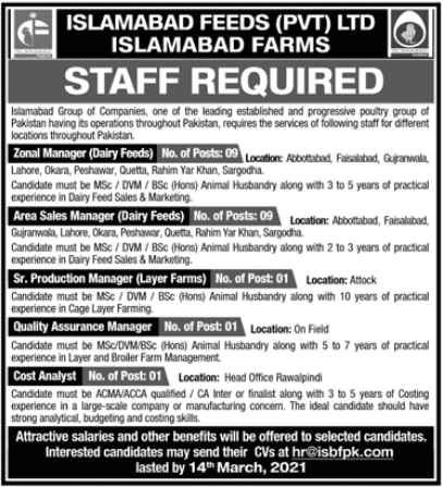 Islamabad Farms Jobs 2021 For Management Staff