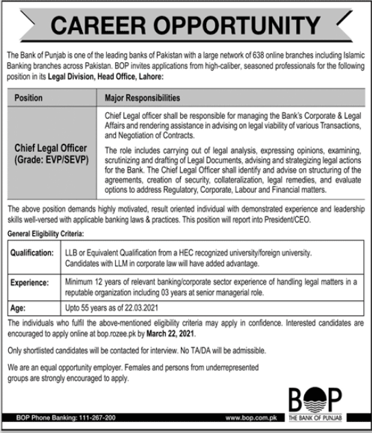 The Bank of Punjab BOP Job 2021 For Chief Legal Officer