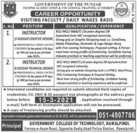 TEVTA Jobs 2021 For Visiting Faculty in Rawalpindi