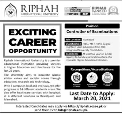 Riphah International University Job 2021 in Islamabad