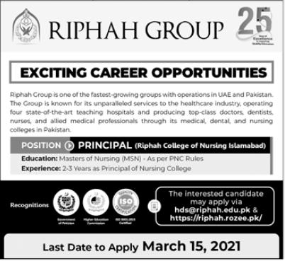 Riphah International University Job 2021 For Principal